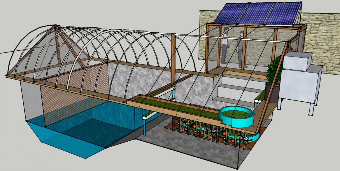 Closed loop food producing urban greenhouse garden pool for Greenhouse over swimming pool