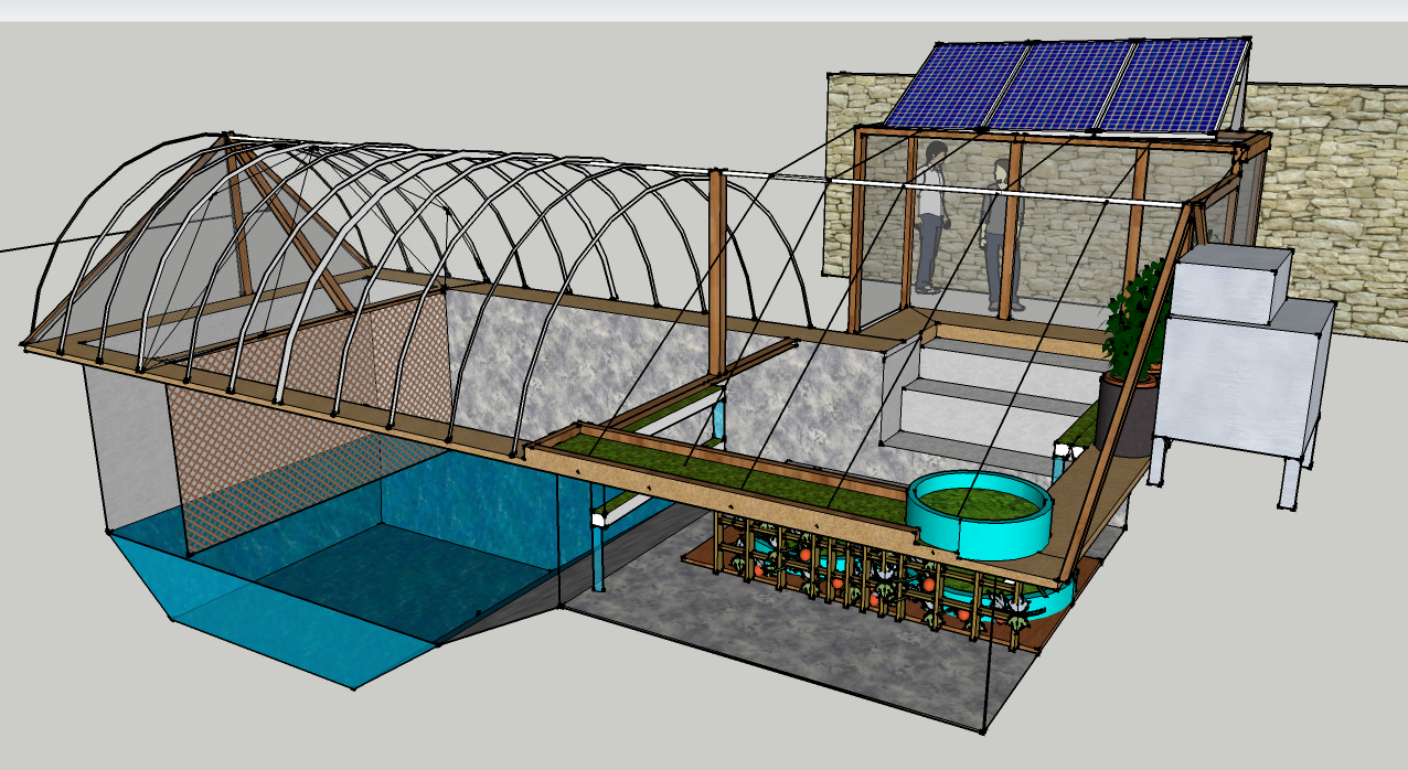 Closed Loop Food Producing Urban Greenhouse Garden Pool