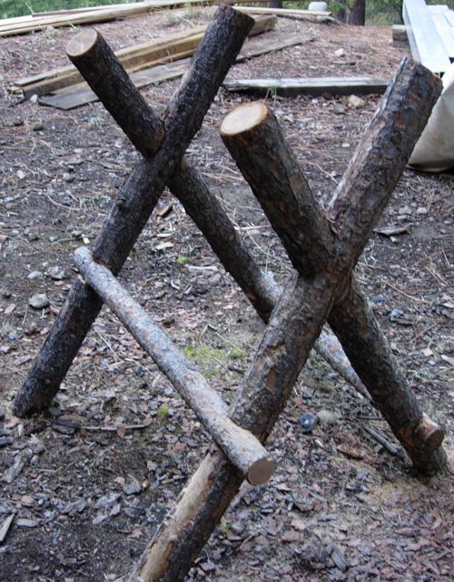 Do It Yourself Home Design: Making A Log Sawhorse