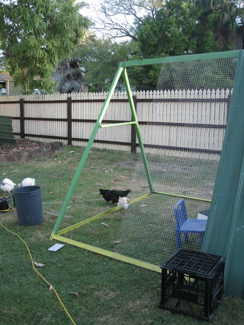 An Old Swing Set Frame Turned Into A DIY Chicken Coop...