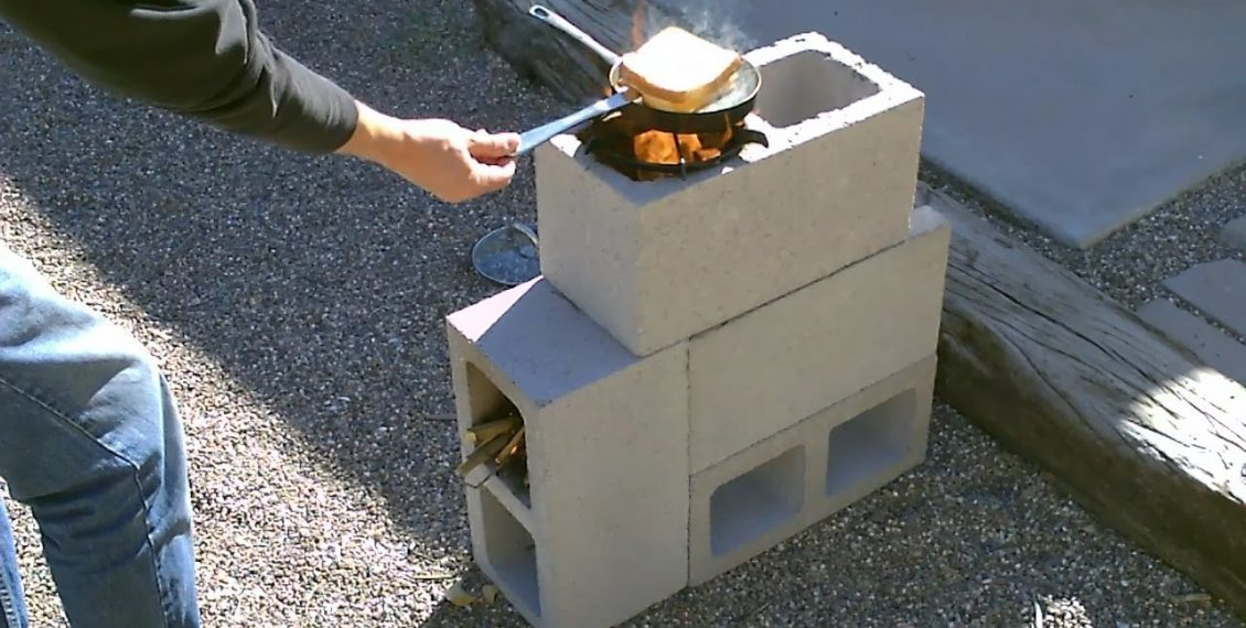 How To Build A Simple Rocket Stove Using 4 Concrete Blocks For Just $5...
