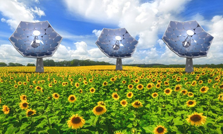 Sunflower-Shaped Solar Concentrators Produce Electricity & Fresh Water...