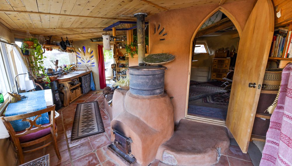 Off-The-Grid Desert Living In A Tiny Earthen Home & Permaculture Community...